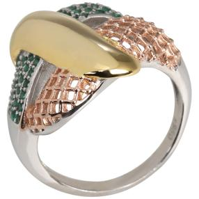 Ring 950 Silber tricolor m. Zirkonia