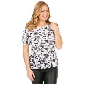 Jeannie Plissee-Shirt 'Malaga' weiß/schwarz