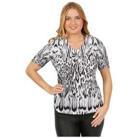 Jeannie Plissee-Shirt 'Granada' schwarz/weiß