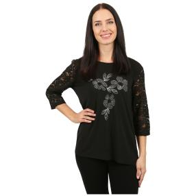 Damen-Shirt 'Francesca' mit Spitze/Strass schwarz