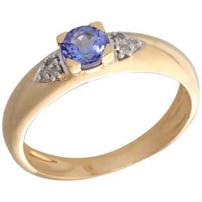 Ring 585 Gelbgold AAATansanit, Diamanten