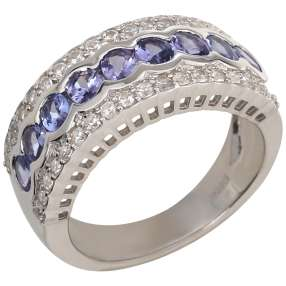 Ring 925 Sterling Silber Tansanit, Zirkon