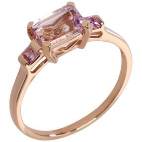 Ring 375 Roségold Kunzit, Pink Saphir