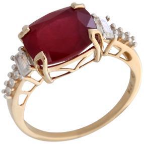 Ring 375 Gelbgold Rubin behandelt, Zirkon