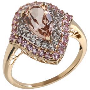 Ring 375 Gelbgold Pink Morganit, Saphir
