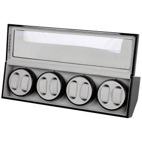 "8er Uhrenbeweger ""Trapez"", LED, Piano black/grau"