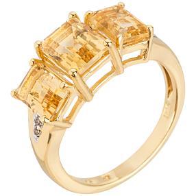 Ring 925 Sterling Silber vergoldet, Citrin