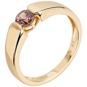 Ring 925 Sterling Silber vergoldet Pink Zirkon