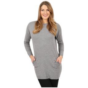 Damen-Longpullover 'Lady Glam' mit Strass grau