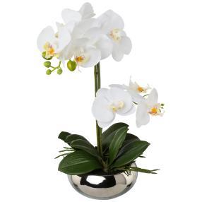 Orchidee weiß, im Silbertopf, 35 cm