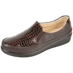 TOPWAY Comfort Damen-Elastik-Slipper braun snake
