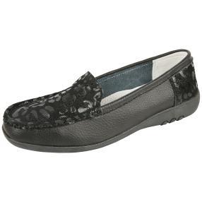 TOPWAY Comfort Leder Slipper schwarz