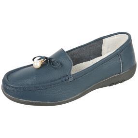 TOPWAY Comfort Damen-Leder-Slipper navy Perle