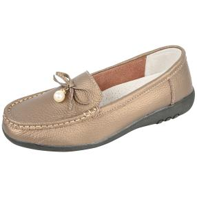 TOPWAY Comfort Damen-Leder-Slipper bronze Perle