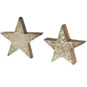 Mangoholz-Sterne 2er-Set gold