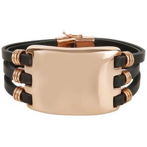 Armband Leder & Bronze, rosévergoldet