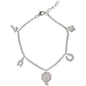 Armband  925 St. Silber rhodiniert Lucky Charm