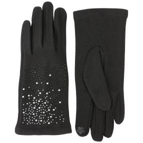 TOP FASHION Handschuhe schwarz Steinchen one size