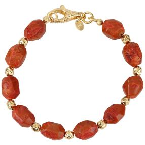Armband Bronze vergoldet Koralle