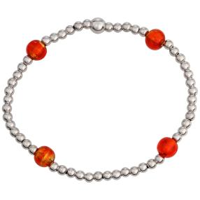 Armband 925 St. Silber rhodiniert Murano Glas rot