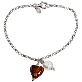 Charm Armband 925 St.Silber rhodiniert Murano Glas