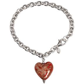 Herz Armband 925 St.Silber rhodiniert Murano Glas