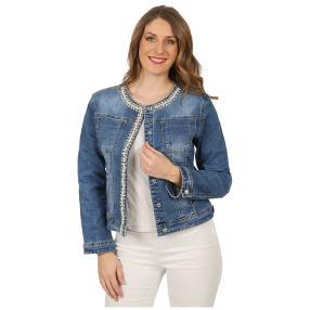 Damen-Jeansjacke 'Linda' mit Perlen & Strass blau