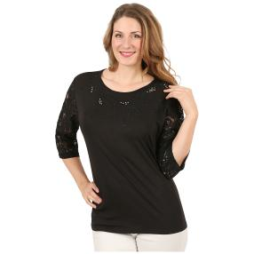 Damen-Shirt mit Spitze, Strass & Perlen schwarz