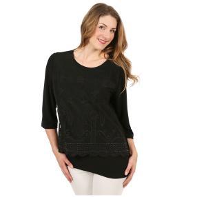 Damen-Shirt mit Spitze schwarz