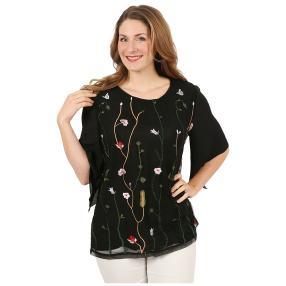 Damen-Shirt bestickt schwarz/multicolor