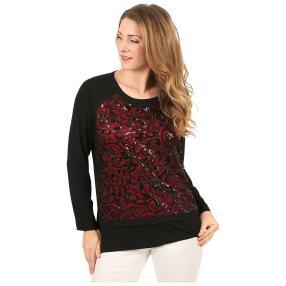 Damen-Shirt mit Pailletten schwarz/rot