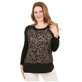 Damen-Shirt mit Pailletten schwarz/nude