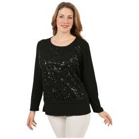 Damen-Shirt mit Pailletten schwarz/schwarz