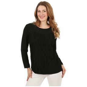 Damen-Shirt mit Spitze & Strass schwarz