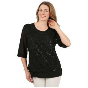 Damen-Longshirt mit Pailletten schwarz/schwarz