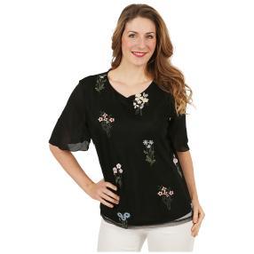 Damen-Chiffon-Shirt bestickt schwarz/multicolor