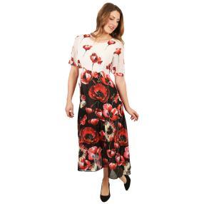 Damen-Kleid schwarz/weiß/rot