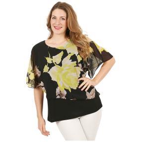 Damen-Chiffon-Shirt 2-lagig schwarz/gelb