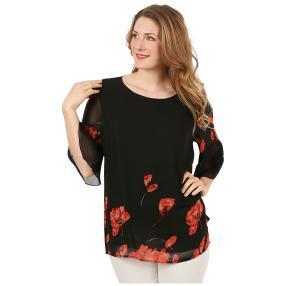 Damen-Chiffon-Shirt 2-lagig schwarz/rot