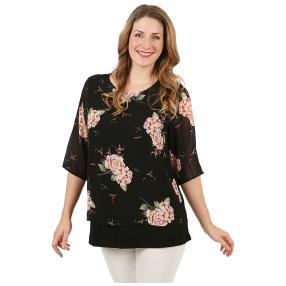 Damen-Chiffon-Shirt 2-lagig schwarz/multicolor