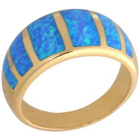 Ring 925 St. Silber vergoldet blauer Opal