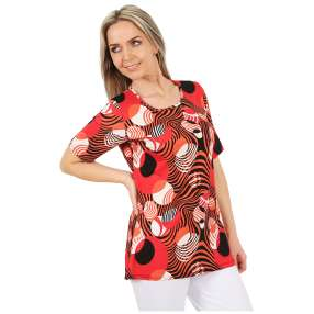 MILANO Design Shirt 'Elara' schwarz/weiß/rot