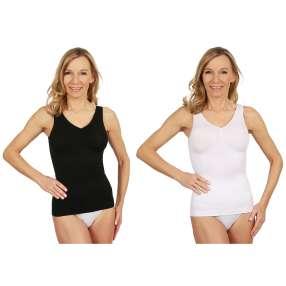 2er Pack-Damen-Form-Hemd seamless schwarz & weiß
