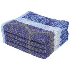 Premium Handtuch 4er Set, blau/grau