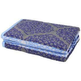 Premium Duschtuch 2er Set, blau/grau