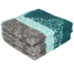 Premium Handtuch 4er Set, grau/grün