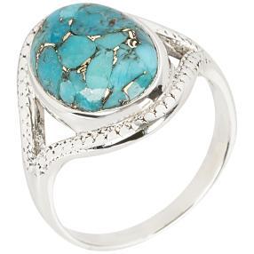 Ring 925 Sterling Silber Blue Copper Türkis stab.