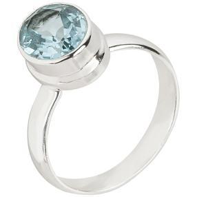 Ring 925 Sterling Silber rhodiniert Blautopas beh.