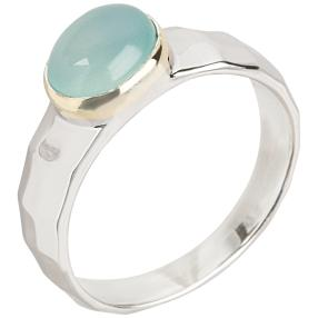 Ring 925 Sterling Silber rhodiniert Chalcedon