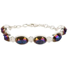 Armband 925 Sterling Silber Titanium Blue Druse